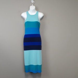 Express Blue Stripe Racerback Tank Maxi Dress